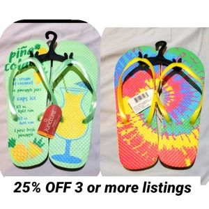 2 New pairs flip flop tie dye Pina colada cocktail